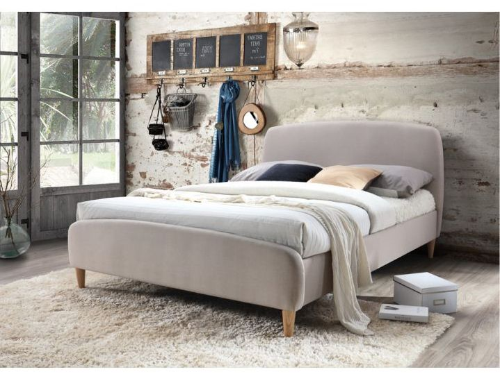 cabezal de cama beige, cabecera de tela beige, respaldo de cama beige