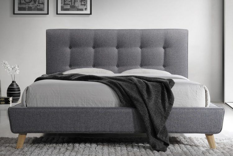 cabecero de cama gris estilo capitoné, cabezal gris, respaldo gris, cabecero de cama de color gris