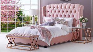 cabecero capitoné para cama rosa, cabecera rosa, respaldo color rosa