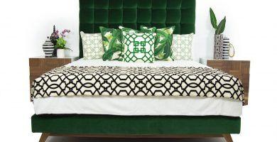 cabecera verde terciopelo, respaldo verde tapizado, cabezal verde de tela terciopelo